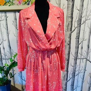 Vintage Pink White Painterly Polka Dot Wrap Dress